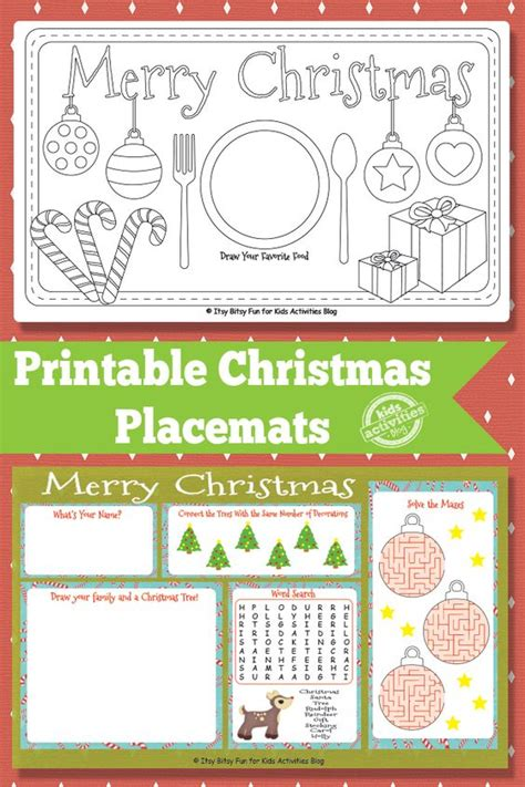 free printable christmas paper placemats printable christmas placemats free kids printable