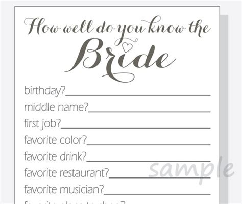 diy how well do you know the bride printable cards bridal