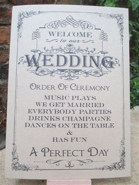 Welcome To Our Wedding Sign Order of Ceremony A4 Size