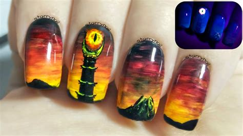 eye nail art tutorial eye of sauron the lord of the rings glow in the dark