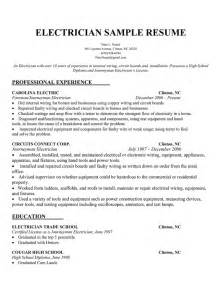 Resume Experience Sle by Electrician Description Resume Recentresumes
