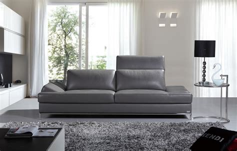 divani casa izzy modern grey leather sofa
