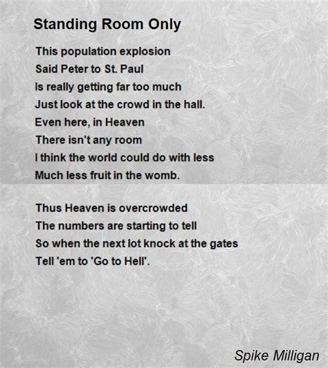 funeral poem i am in the next room standing room only poem by spike milligan poem