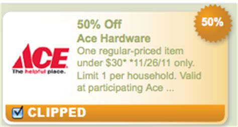 ace hardware voucher print now 50 off 1 item at ace hardware on 11 26