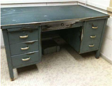 antique metal steel desk steunk industrial brass deco