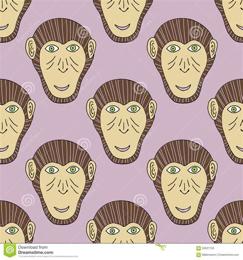 new year monkey pictures to print monkey print chimpanzee seamless pattern vector