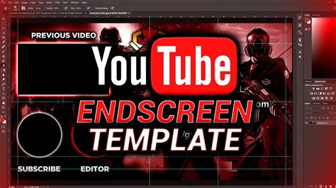end card editor template free outro endscreen template photoshop