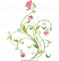 clip art delicate green vine pink blooming flowers hsy5dp clipart suggest