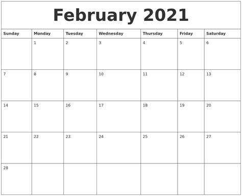 free online printable february calendar february 2021 free printable calendar templates