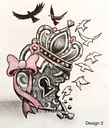 cool heart tattoos a cool locket with broken hearted crown and birds