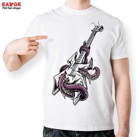 guitar blue pattern style men s clothing t shirts s m l xl octopus twisting electric guitar t shirt design inspired