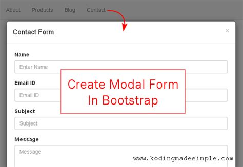 twitter bootstrap modal form exle creating contact form