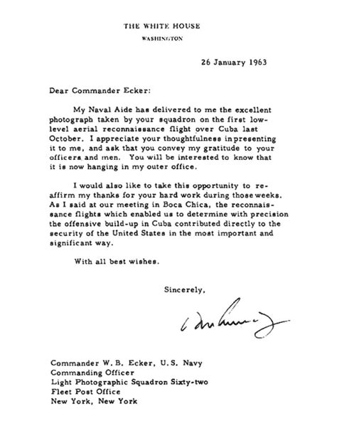 Exle Introduction Letter To Commanding Officer Cuban Missile Crisis