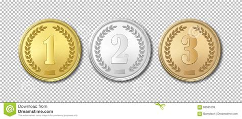 realistic vector gold silver and bronze award medals icon