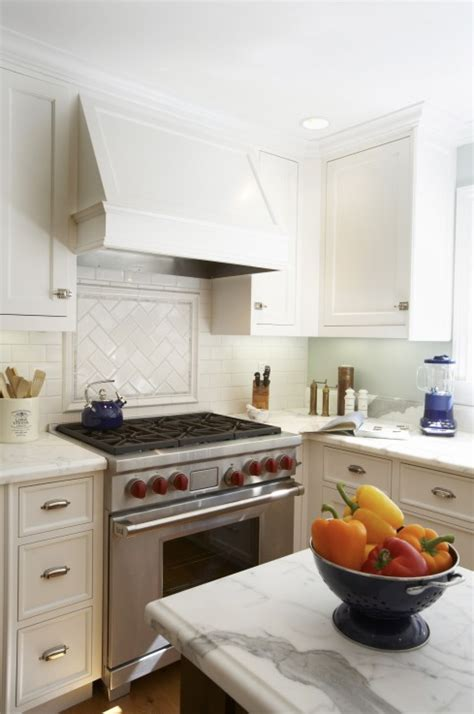 herringbone subway tile transitional kitchen