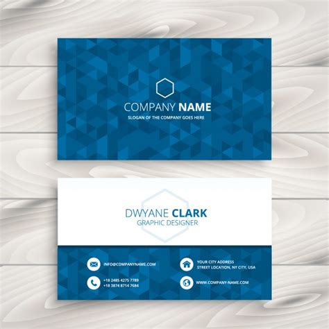 pattern of business card business card with blue triangular pattern vector free