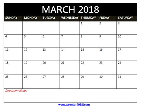 free march calendar template march 2018 calendar printable template free word