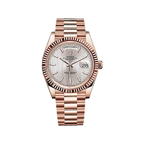 Rolex Ls20 Rosegold rolex day date 40 228235 gold sundust stripe motif world s best