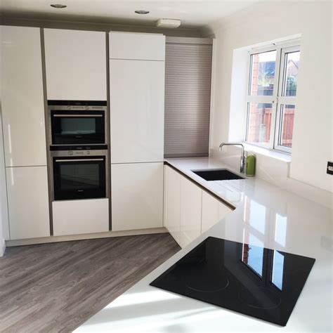 Acrylic Kitchen Work Surfaces White Gloss German Schuller Kitchen With White Silestone