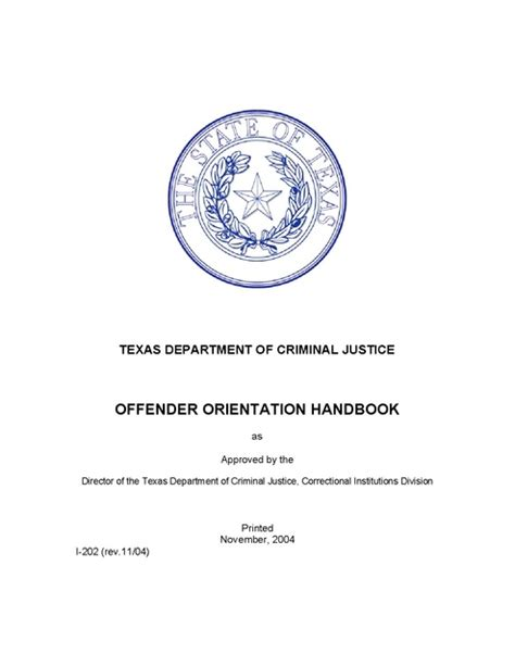 Department Of Criminal Justice Inmate Records Department Of Criminal Justice Offender Orientation Handbook 2004 Prison