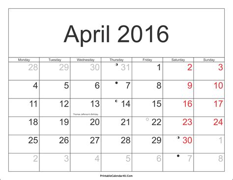 a calendar for april 2016 calendar printable with holidays pdf and jpg