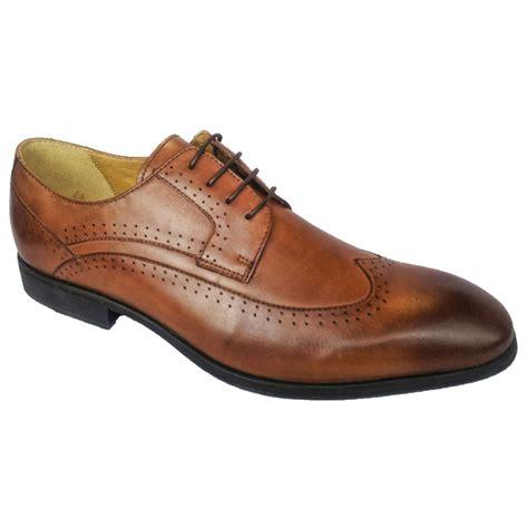 steptronic mens fusion cognac 4 eyelet lace up smart shoe
