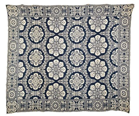 jacquard coverlet blue and white jacquard coverlet