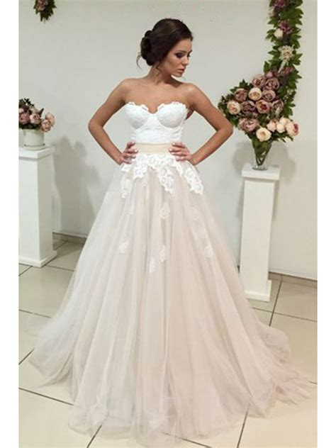 Lace A Line Dress a line sweetheart lace tulle wedding dresses bridal gowns
