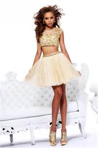 short two piece prom dress with midriff showing