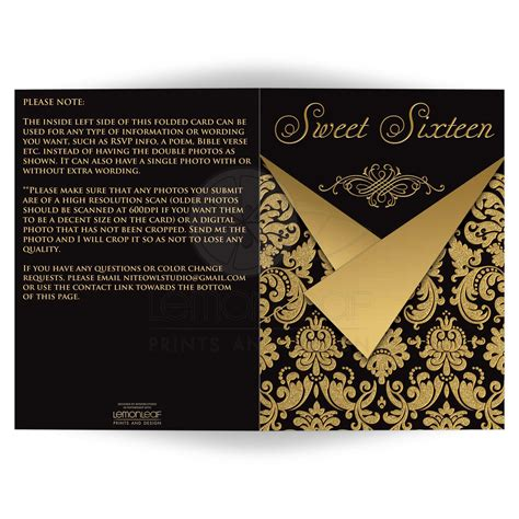 Sweety Black sweet 16th birthday invitation card optional photos