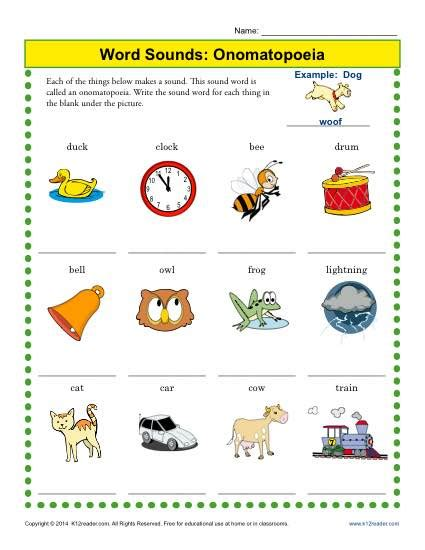 onomatopoeia worksheets