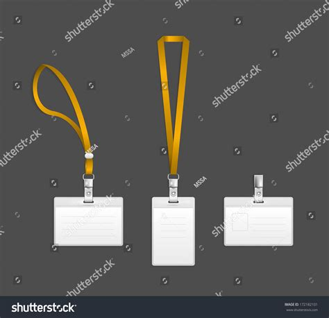 convention name card holder template lanyard name tag holder end badge stock vector 172182101