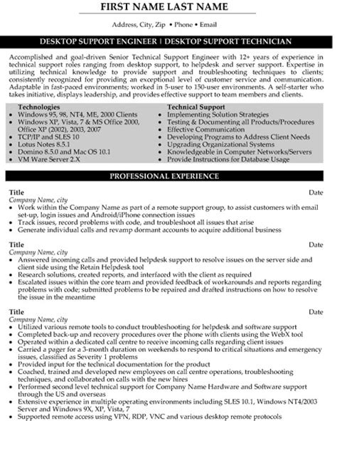 desktop support engineer sle resume desktop support engineer resume sales 28 images