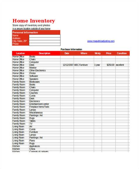 home inventory excel template excel inventory templates 9 free excel documents