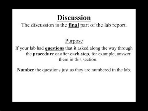 lab report discussion section video 1 9 how to write a lab report discussions youtube