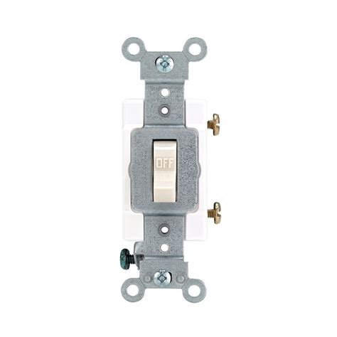 leviton electrical switches leviton 15 20 single pole industrial toggle switch light almond r56 01221 20t the home depot