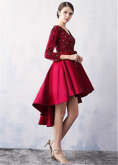 short on top but ling in back black hair cuts burgundy lace satin high low short prom cocktail dresses 3