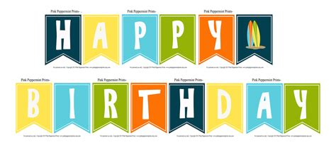 printable happy birthday banner pdf banners and garlands pink peppermint prints parties