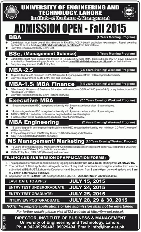Mba Ib Form by Of Engineering And Technology Uet Admission