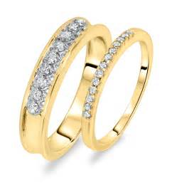 his and hers wedding rings 3 8 ct t w his and hers wedding rings 14k yellow gold my trio rings wb106y14k