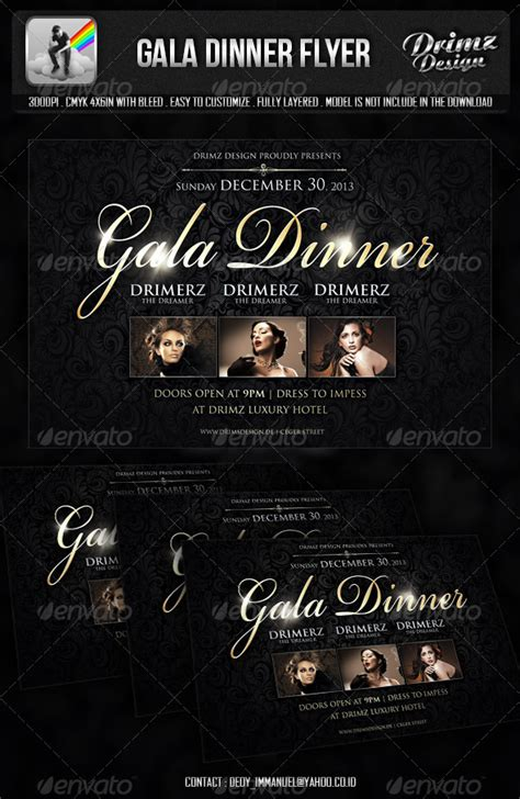 Gala Dinner Flyer By Drimerz Graphicriver Dinner Poster Template