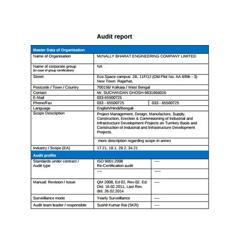 audit report template simple audit report template with blue table format for master data of organization and profile