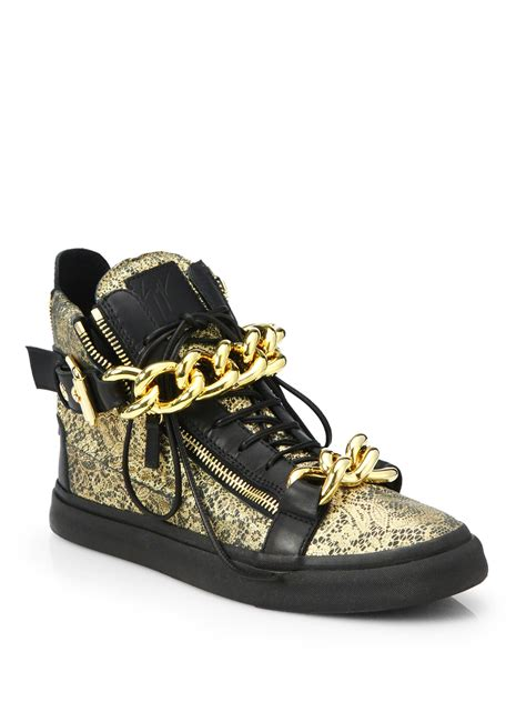 gold high top sneakers for giuseppe zanotti chain metallic lace printed