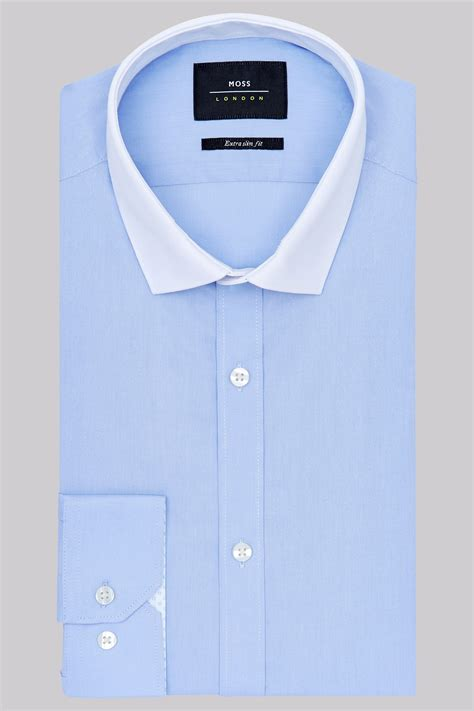 Contrast Collar Shirt moss slim fit sky blue single cuff tonic