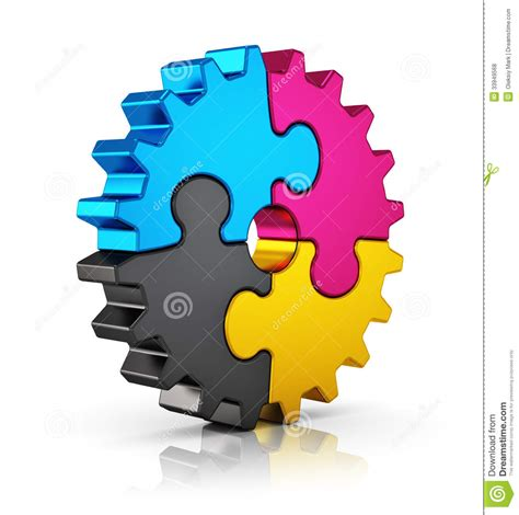 cmyk puzzle gear stock illustration image of factory