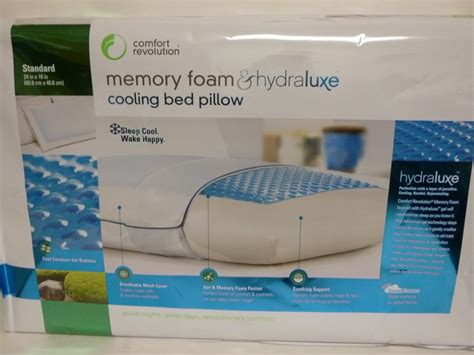 comfort revolution hydraluxe gel memory foam bed pillow new comfort revolution memory foam hydraluxe cooling