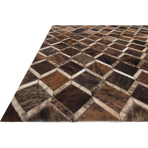 darla rustic modern pane brown cowhide rug 3 6x5