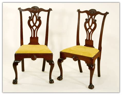 Chippendale Chairs by Assembled Pair Of Chippendale Chairs