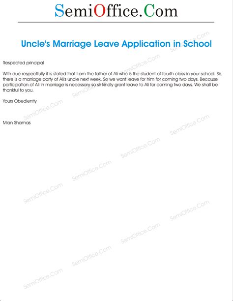 Request Leave Letter For Marriage Application For Marriage Of By Student S Parents