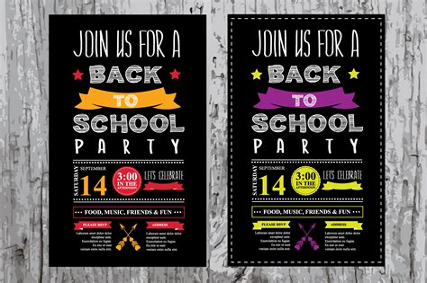 Back To School Party Invitation Invitation Templates On Creative Market Welcome Invitation Template